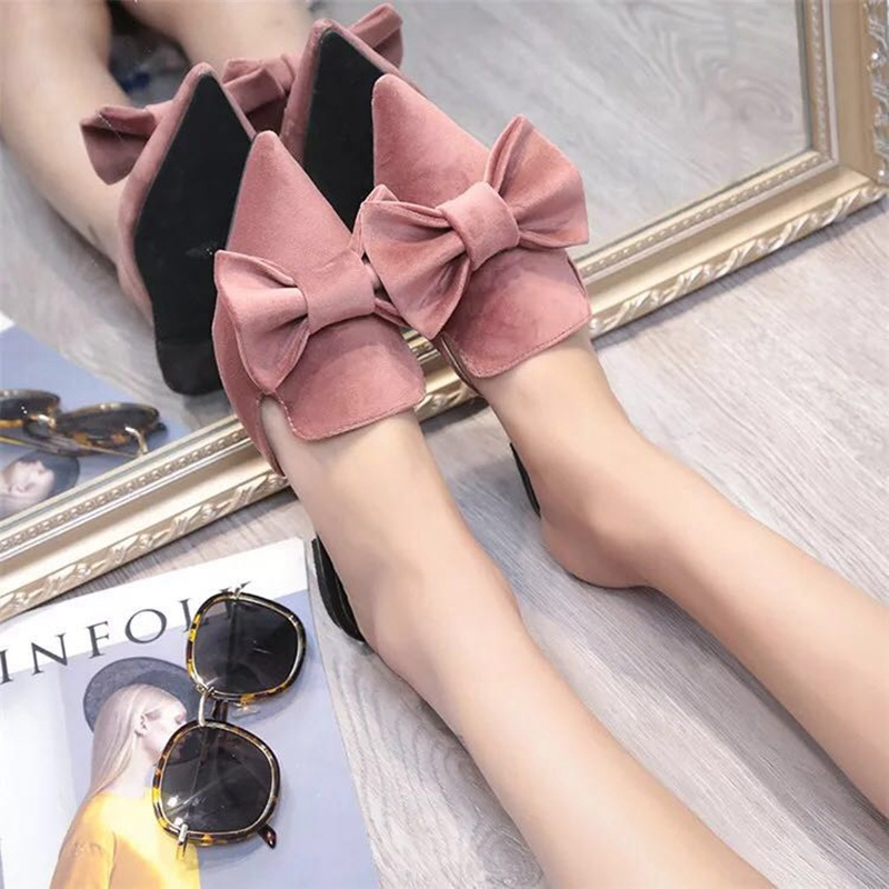 Bailehou Fashion Women Slippers Pointed Toe Butterfly-knot Flat Suede Casual Shoes Platform Mules Women Slip-On Ladies Shoes hot sale 2016 new fashion spring women flats black shoes ladies pointed toe slip on flat women s shoes size 33 43