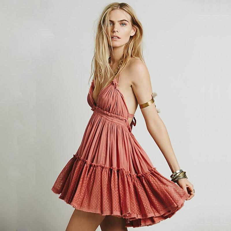 Summer Dress Women Backless Beach Dress Holiday Boho