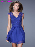 V neck Chiffon Bridesmaid Dresses Short Royal Blue A line Prom Homecoming Dress Party Gown HD10
