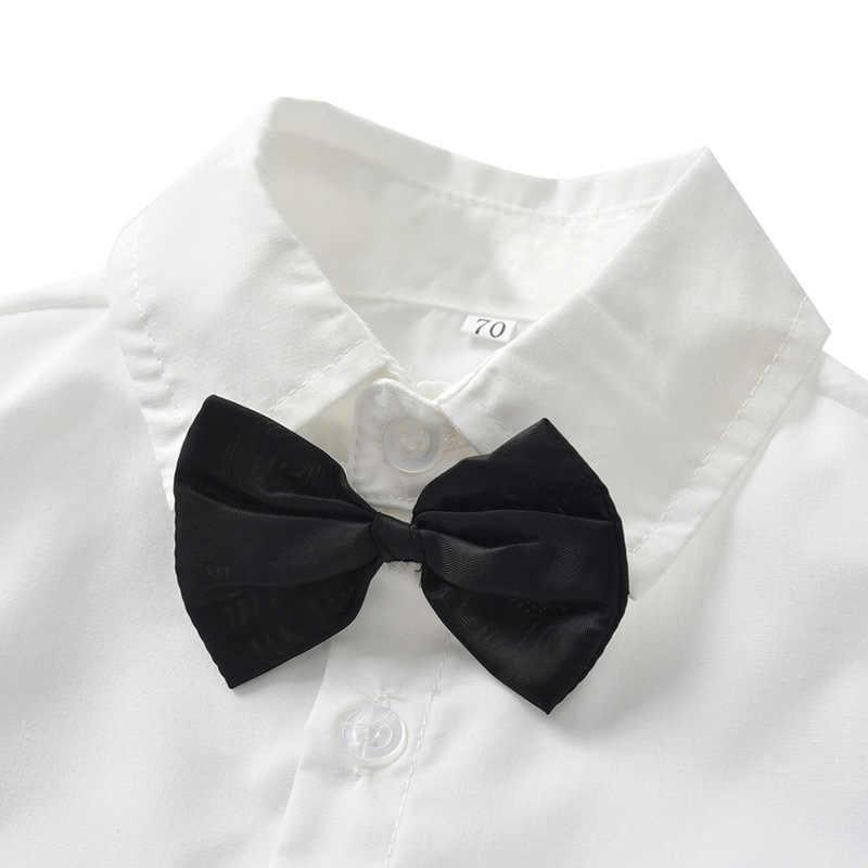 Kinderen Pakken Blazers 2019 Herfst Baby Jongens Shirt Overalls Jas Stropdas Jongens Suit voor Wedding Formele Party Wear Katoen Kinderen kleding