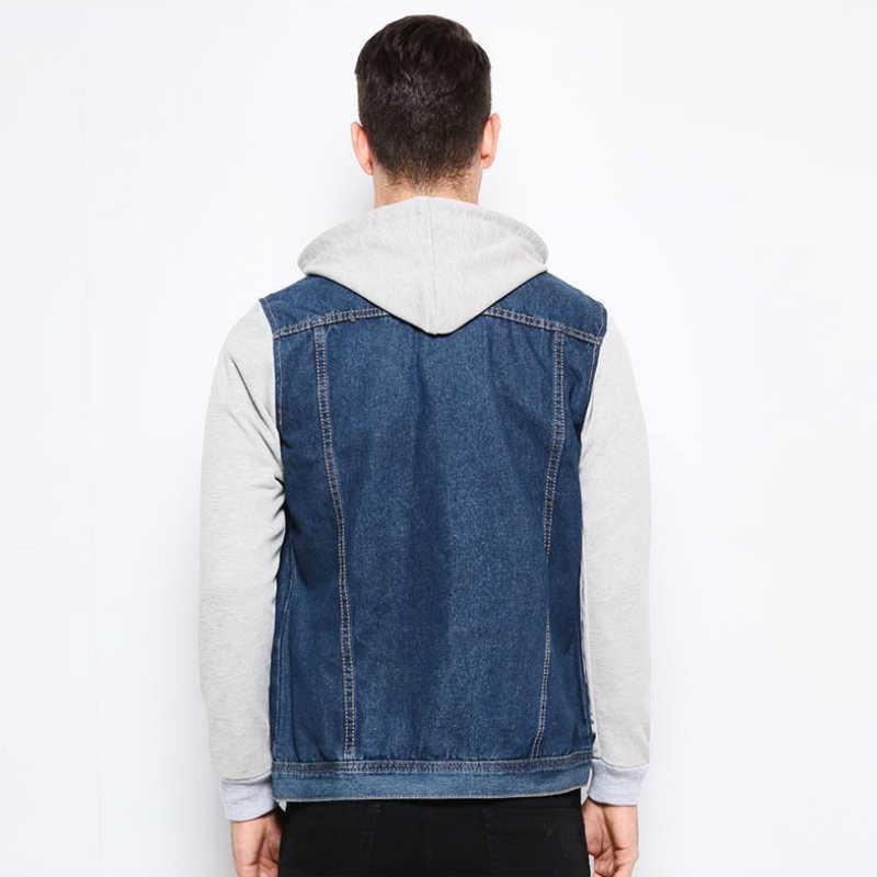 新ファッションデニムジャケット男性フード付きヒップホップジーンズジャケットパーカーカウボーイメンズジャケットストリート polerones デ hombre カジュアル