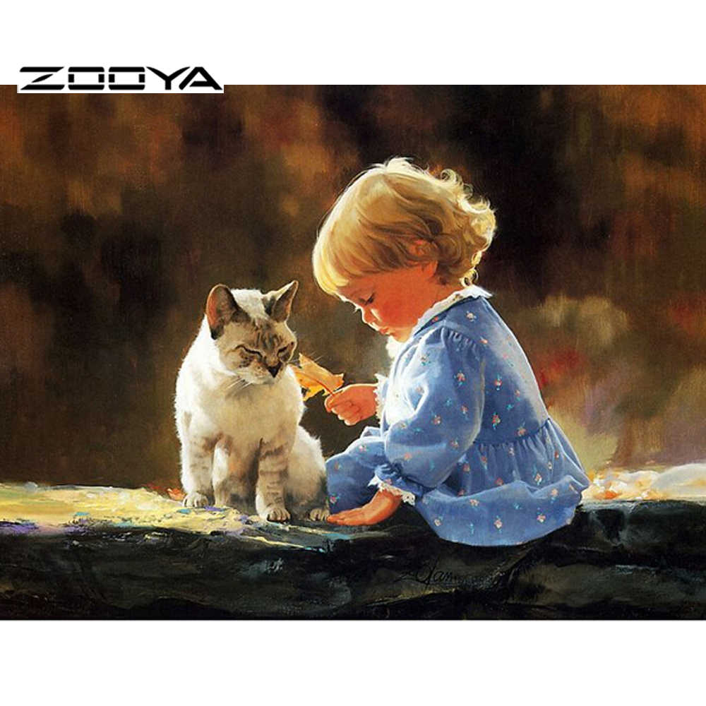 2015 NEW DIY Diamond Painting People Full Square Diamond Paiting Diamond Embroidery Cat And Girl  Home Decor  F315