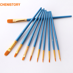 10Pcs/Set paint by numbers brushes Watercolor Gouache Paint Brushes Different Shape Round Pointed Tip Nylon Hair Painting Brush(China)