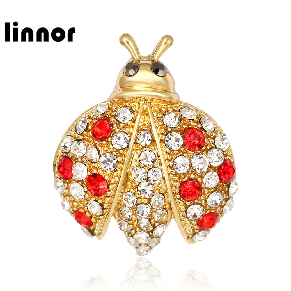 buy linnor cute carton ladybug brooch pin gold alloy red rhinestone broches. Black Bedroom Furniture Sets. Home Design Ideas