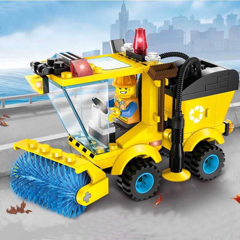 Children Blocks Toys City Road Sweepers Blocks Toys Assembled Model Building Kits Educational DIY Toys for Kids Christmas Gift in Model Building Kits from Toys Hobbies