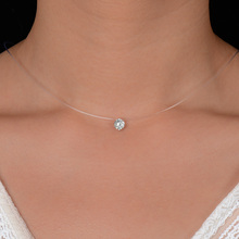 Silver Color Dazzling Zircon Necklace And Invisible Transparent Fishing Line Simple Pendant Necklace Jewelry For Women