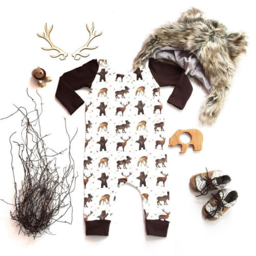 Newborn Christmas Baby Boys Girls Clothes Animal Jumpsuit   Romper   Outfit