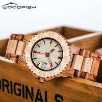 WOODFISH Classical Wooden Watch Men Analog Natural Quartz Watches Movement Date Male Wristwatches Time Clock Relogio