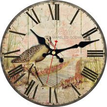 Nature Scenery Wall Clocks Flower Waterfowl Design Silent Living Study Office Kitchen Room Art Shabby Chic Large