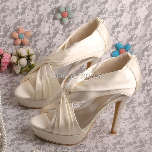ФОТО Wedopus Gladiator Style Ivory Wedding Sandals Bridal Platform Zipper Pumps Dropshipping