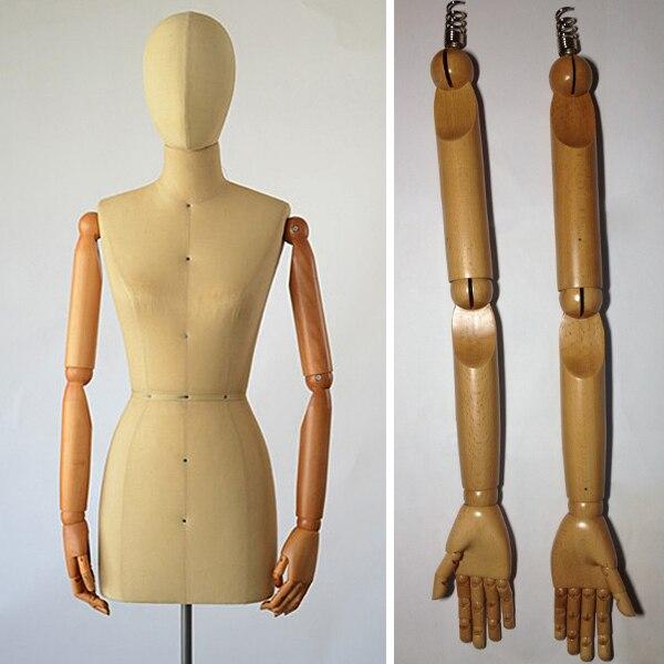 Женский манекен дисплей, платье форме манекен деревянная рукоятка