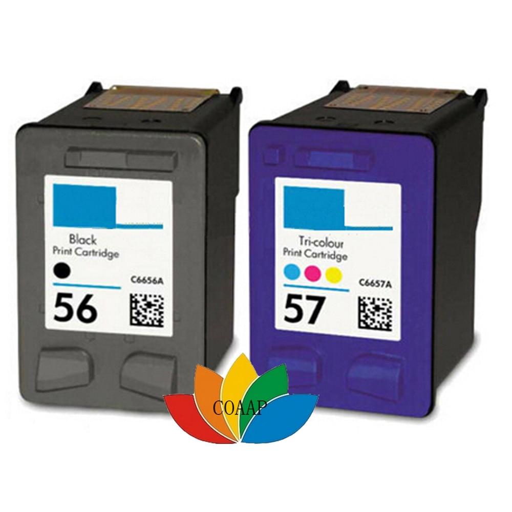 2 pcs Cartuchos de Tinta Recarregados para HP 56 Black 57 Cor para PSC2115 PSC2171 PSC2175 PSC2179 PSC2210 NOVO C6656AE C6657AE