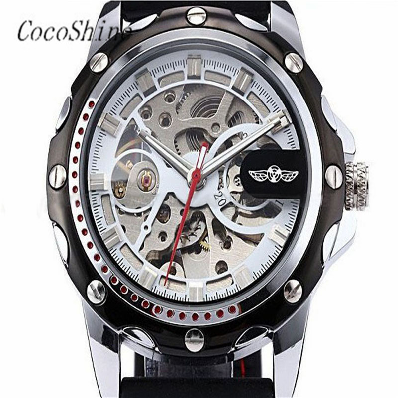 Hot Free shipping Wholesale A 918 High Quality Luxury Men Skeleton Wrist Watches Automatic Winding Mechanical