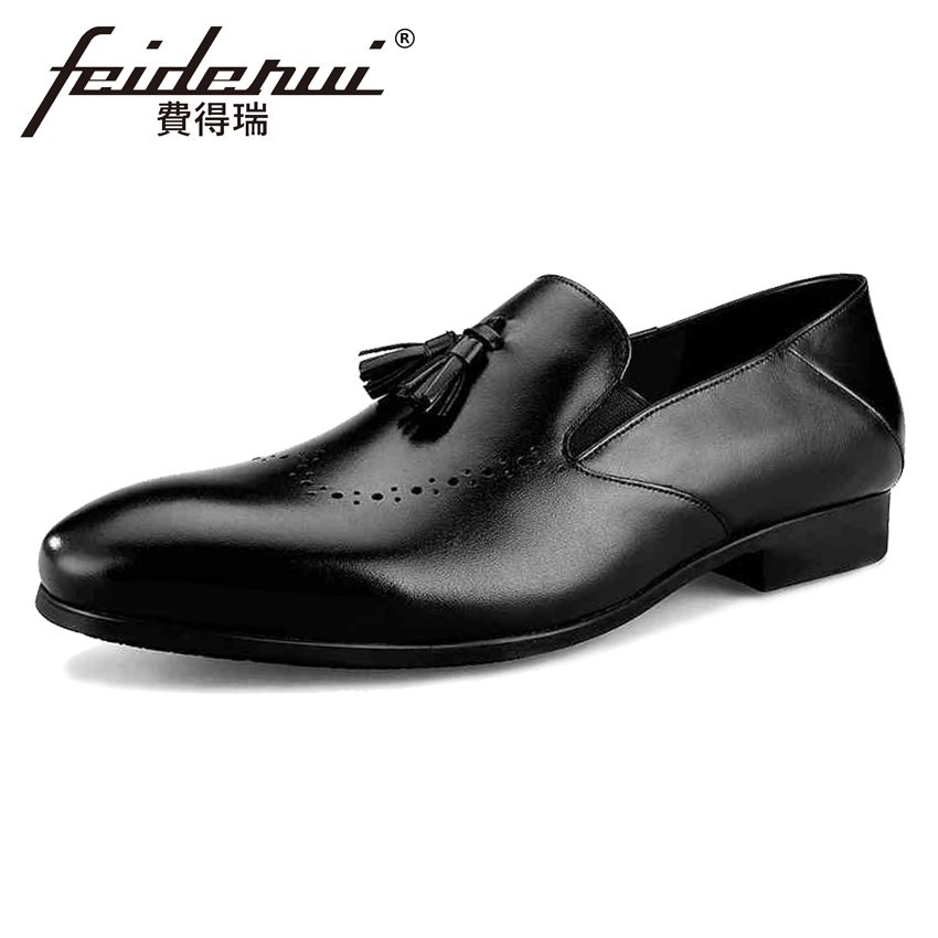 Luxury Breathable Genuine Leather Men's Loafers Round Toe Slip on Man Wedding Flats Height Increasing Male Handmade Shoes BQL38 pl us size 38 47 handmade genuine leather mens shoes casual men loafers fashion breathable driving shoes slip on moccasins