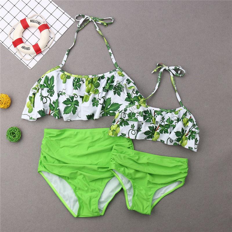 Family Matching Swimwear Father Mother Kids Grapes Swimming Suit Women Pad Bikini Girls Swimsuit Men Boys Trunks Beachwear