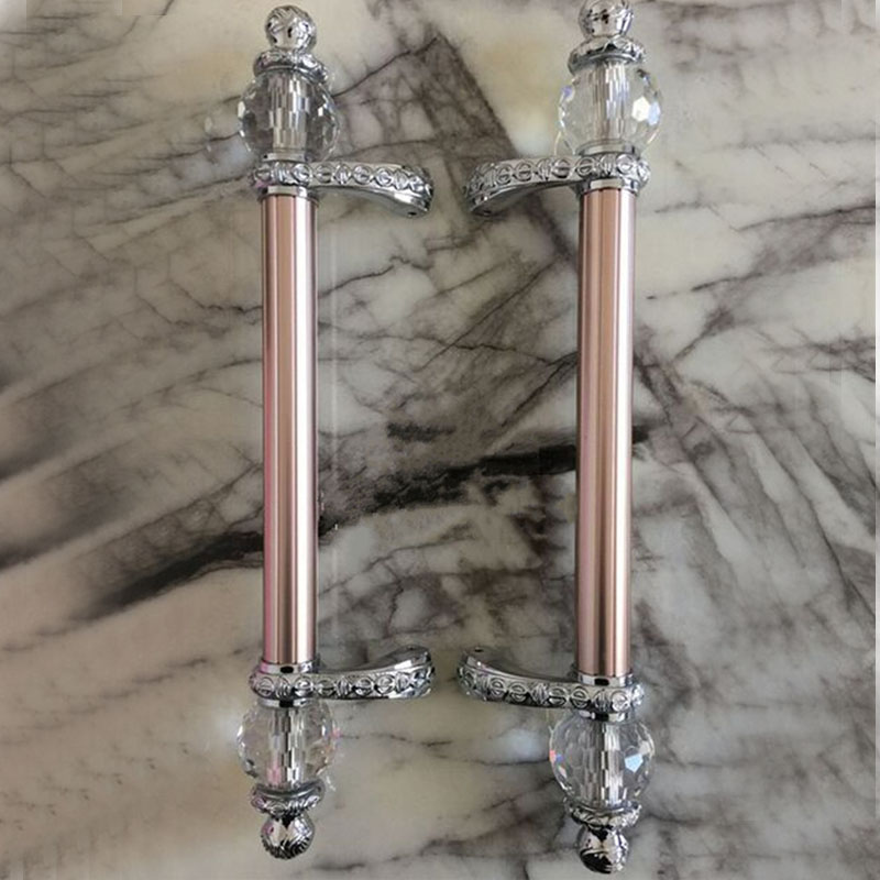 600mm 500mm modern fashion deluxe rose gold ktv hotel home office wooden glass door handles crystal big gate door pulls handles аквариум 500 600 литров