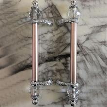 600mm 500mm modern fashion deluxe rose gold ktv hotel home office wooden glass door handles crystal big gate door pulls handles