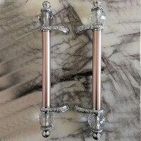 600mm 500mm moderne mode de luxe rose or ktv hôtel maison bureau en bois porte en verre poignées cristal grande porte porte tire poignées