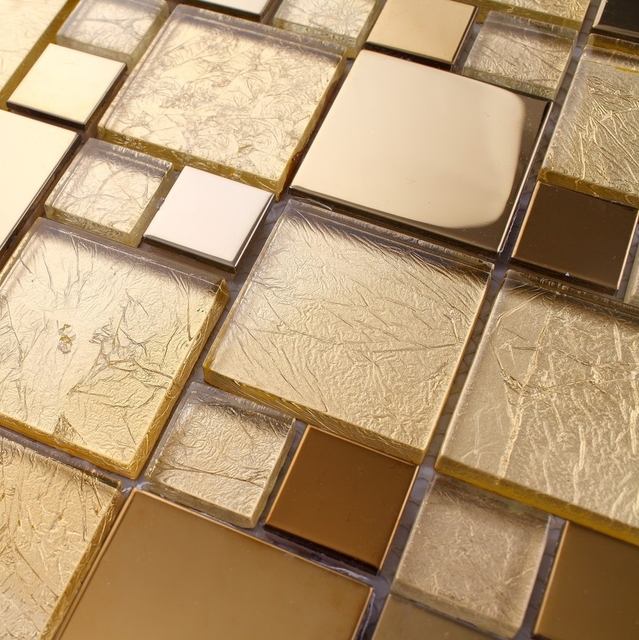Golden Color Gl Mixed Stainless Steel Metal Mosaic For Kitchen Backsplash Tile Bathroom Shower