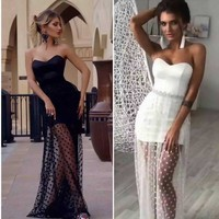 wholesale 2018 New dresses black and white Strapless Sweet and sexy celebrity luxurious cocktail Party bandage long Dress(L2543)