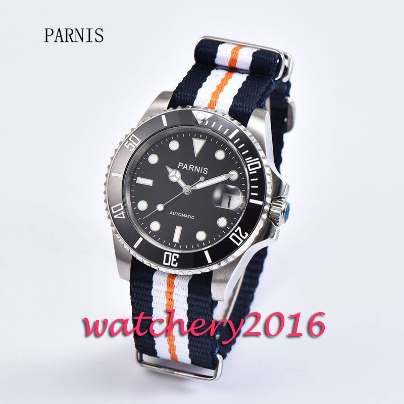 Fashion 40mm Parnis black dial ceramic bezel sapphire glass Automatic movement Mens business Watch Fashion 40mm Parnis black dial ceramic bezel sapphire glass Automatic movement Mens business Watch