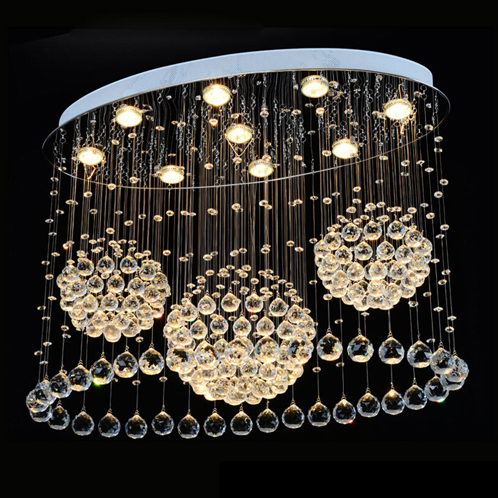 Modern simple oval bedroom lighting living room crystal ceiling lamp creative restaurant dining room LED crystal hanging lamps restaurant white chandelier glass crystal lamp chandeliers 6 pcs modern hanging lighting foyer living room bedroom art lighting