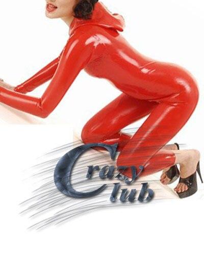 Top Latex femmes Catsuit vêtements justaucorps latex caoutchouc costume avec chapeau latex fétiche rouge à manches longues latex catsuit DHL livraison gratuite