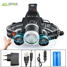 ZPAA LED Headlamp 13000LM XML T6 LED Headlight Rechargeable 4 Mode Head Flashlight Torch Lamp Motion Sensor Fishing LED Light