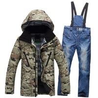 2016 Men Ski Suit Waterproof Windproof Ski Jacket Pants Warm Snow Coats Thicken Clothes Pants Set