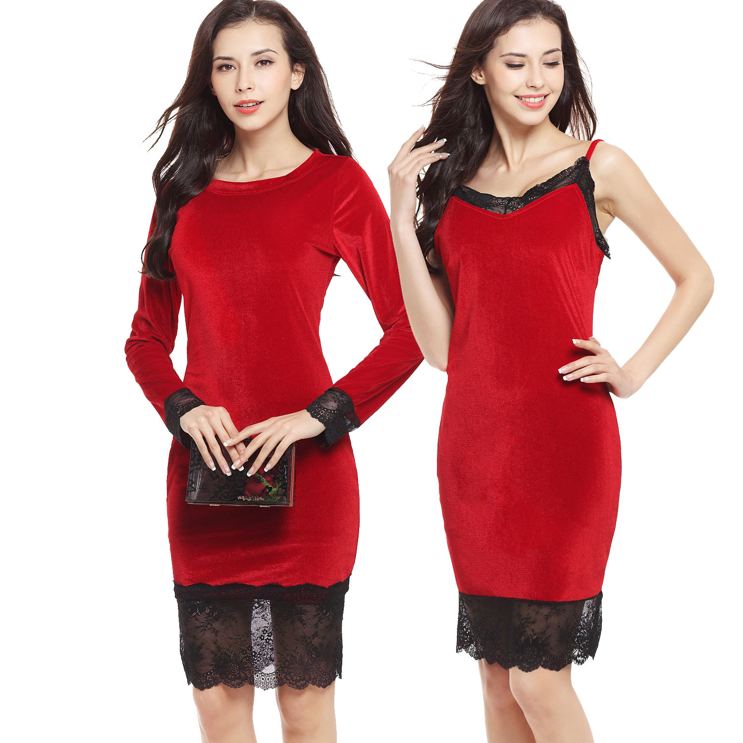 Red Velvet Black Lace Dress