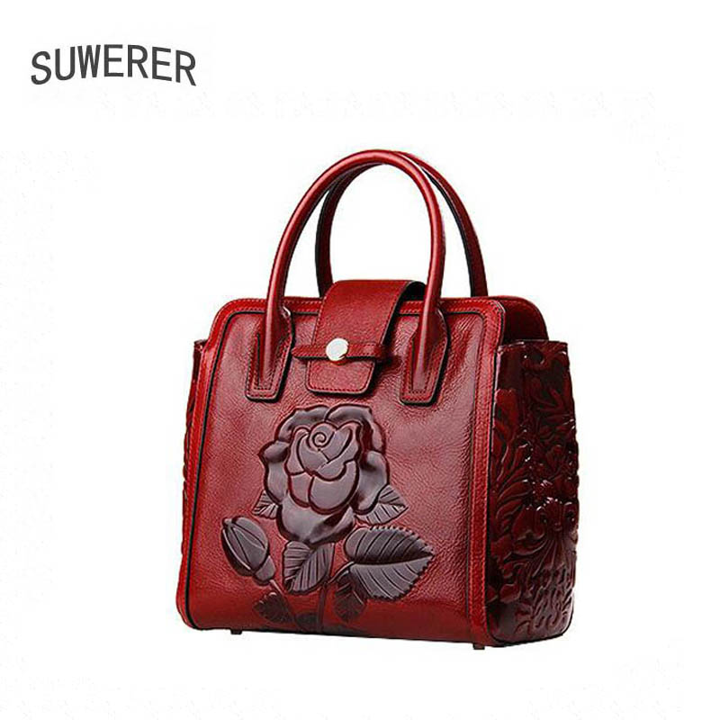 Genuine Leather women bags for women Fashion Embossed rose luxury handbags women bags designer bags handbags women famous brands kzni women genuine leather embossed bags handbags women famous brands designer handbags high quality pochette sac a main 8568