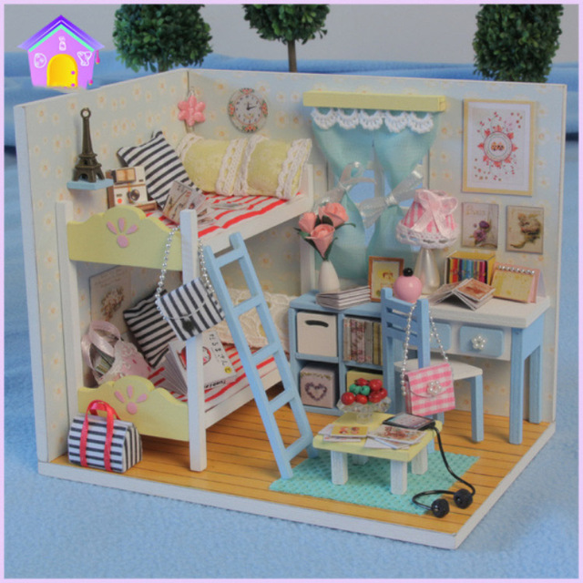 New Bookcase Toy Box White Finish Bedroom Playroom Child: Original Genuine 3d Diy Girls House Sweet Bedroom Bunk Bed