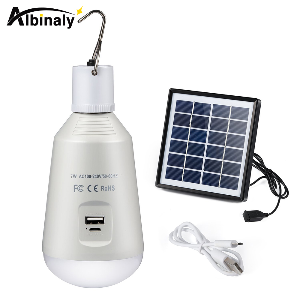 Albinaly Rechargeable Camping Lantern LED Tent Light Solar Power Bank Emergency Portable Outdoor Lamp Multi Fuctional Flashlight