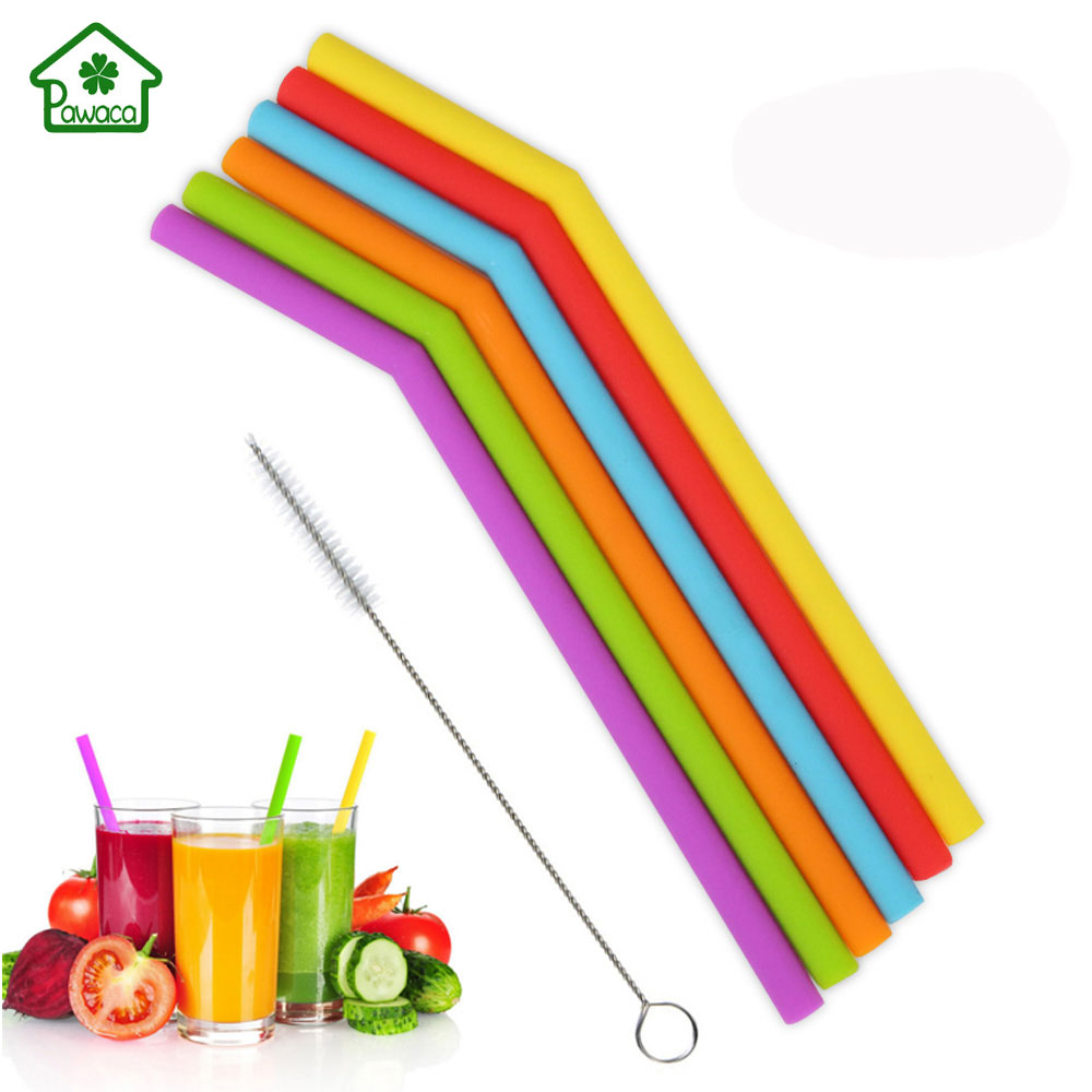 6Pcs/set Reusable Silicone Straws Food Grade Silicone Drinking Straw With Cleaning Brush High Temperature Resistance Party Straw