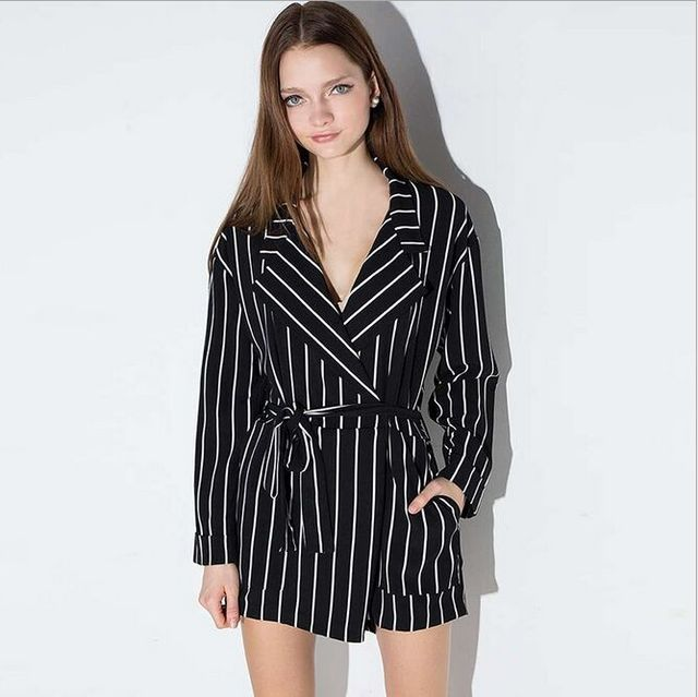 1b6aff47280 Summer 2019 Sexy Black and White Striped Jumpsuit Romper Women V Neck Long  Sleeve Overalls Beach