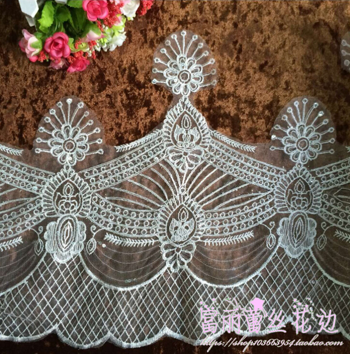 2 Meters 40cm Width Beautiful Off White Silver Edge Embroidery Lace Trim Lace Fabric for Wedding Decoration