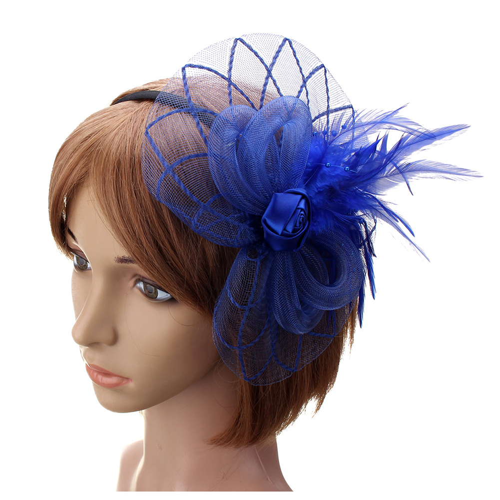 Flower Feather Fascinator Headband Hat Wedding Prom Ladies 34c7f643bc7
