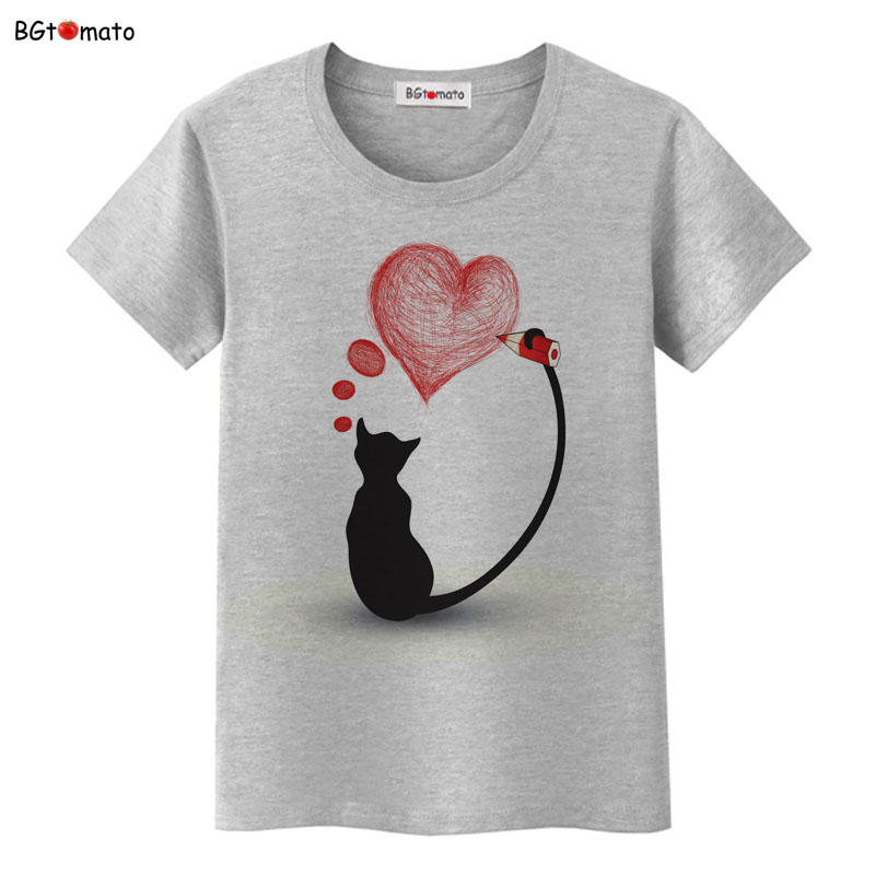 BGtomato super cool elegant cat t shirt women hot sale clothes lovely tshirt fashion top tees t-shirt Brand kawaii shirt 16
