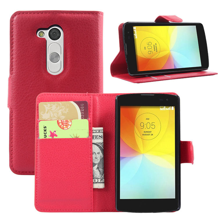 Slim Luxury Handmade PU Litchi Leather Wallet Case Folio Cover Stand Function LG L Fino D295 Dual D290N - Quella Store store