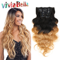 Brazilian Hair Clip in Human Hair Extensions Ombre T1B/27 Human Hair Clip in Extensions Ombre clip in hair extensions Body Wave