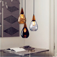 IWHD Nordic Glass Ball LED Pendant Light Fixtures Dinning Living Room Lampe Hanging Lights Vintage Lamp