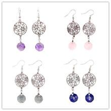 Kraft-beads Elegant Silver Plated Decorative Pattern Labradorite Stone Earrings Lapis Lazuli Jewelry