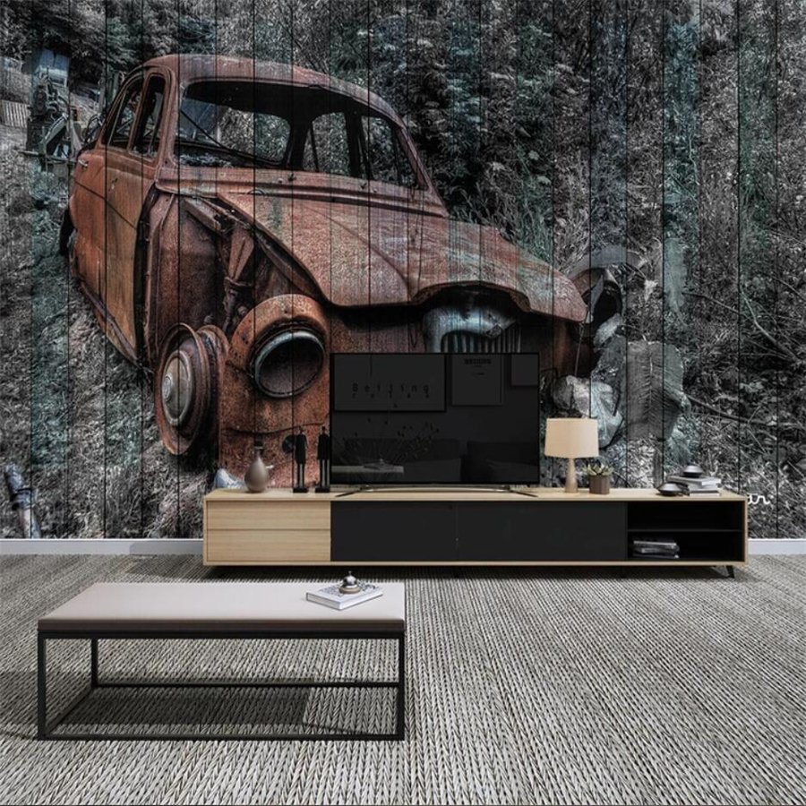 Custom <font><b>wallpaper</b></font> <font><b>3D</b></font> murals European retro <font><b>car</b></font> papier peint <font><b>wallpaper</b></font> living room TV wood grain background wall papers home decor image