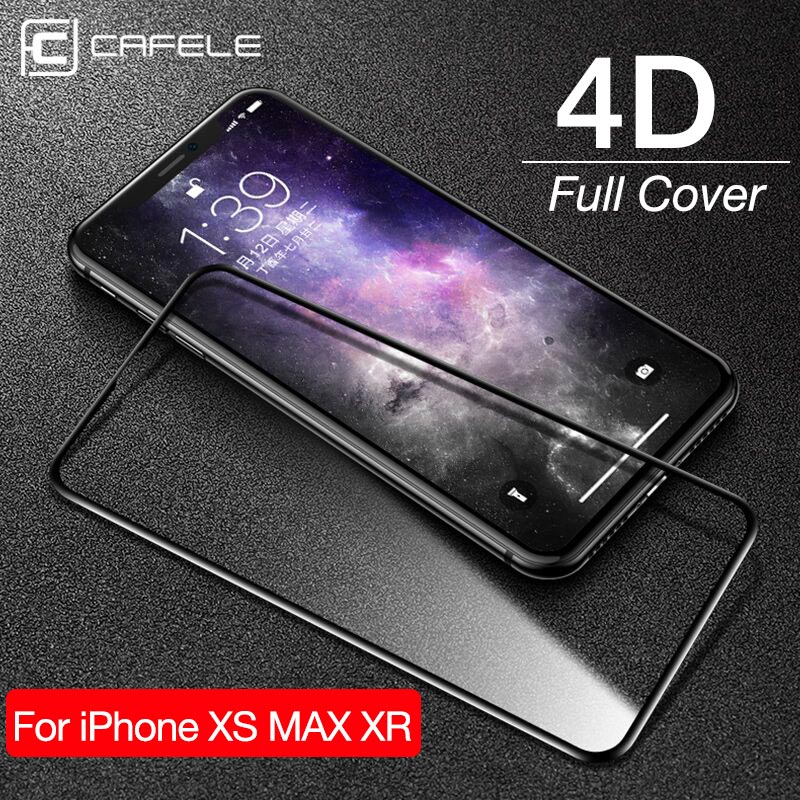 CAFELE Screen Protector for iPhone Xs Max Xr 4D Tempered Glass Full Cover HD Clear Protective Glass for Apple iPhone 5.8 6.1 6.5-in Phone Screen Protectors from Cellphones & Telecommunications