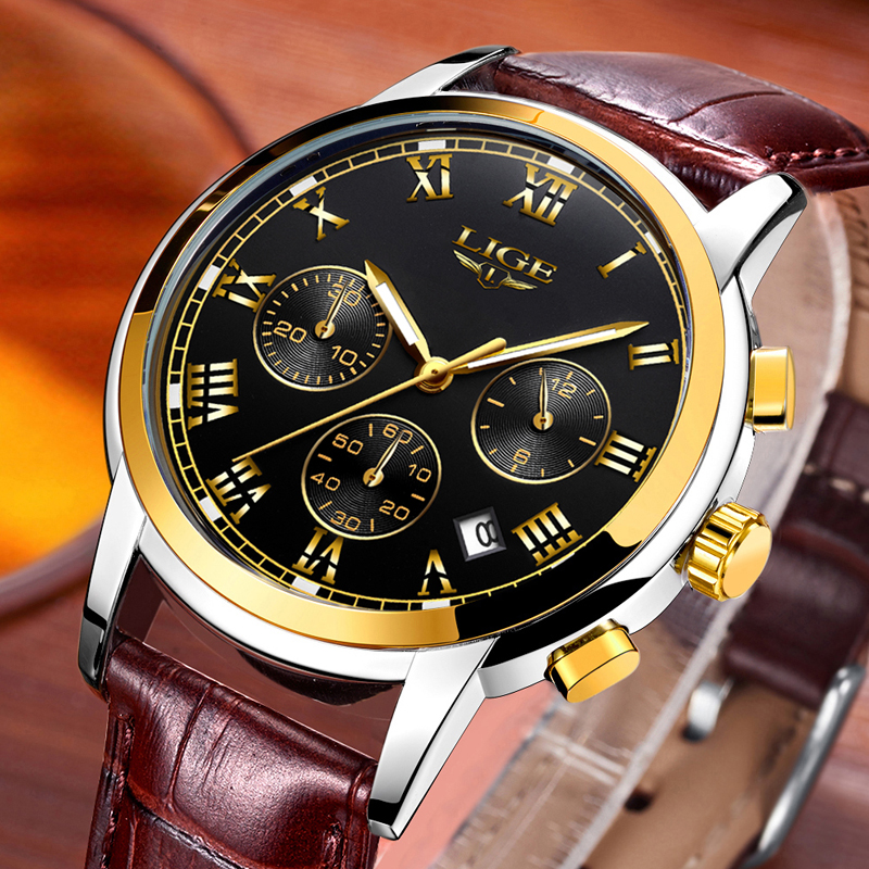 LIGE Men Watches Business Fashion Top Brand Watch Men Sports Casual Clock Waterproof Leather Quartz Watch Relogio Masculino+Box redear top brand wood watch men women wooden watches japan miyota fashion watch leather clock relogio feminino relogio masculino