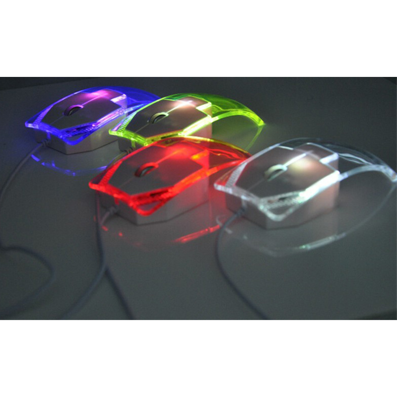 FFFAS Cute Transparent Led Optical Wired Mouse Shining Night Light ...