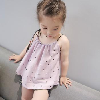 Summer Baby Girl Dress For Girls Polka Dot Drawstring Halter Top Cute Baby Shirt Baby Girl Clothes girl