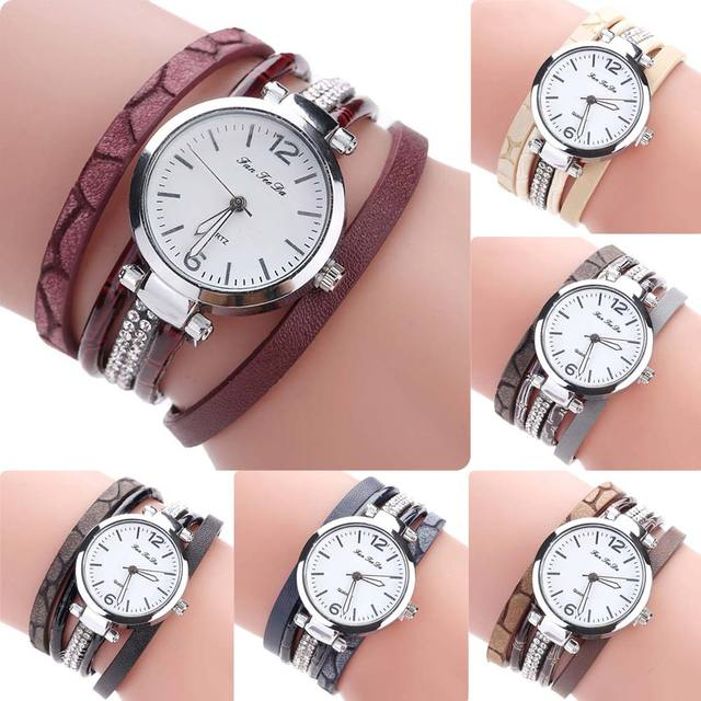 FANTEEDA Multi Layers Women Quartz Bracelet Watch PU Leather Weave Wrap Crystal Wristwatch Jewelry Gifts TT@88