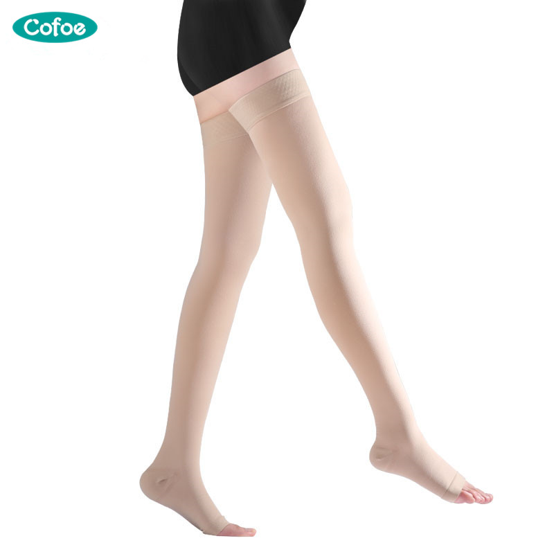 Cofoe A Pair Compression Stockings Varicose Veins 34-46mmHg Pressure Levelht 3 mid-Calf length Medical Socks for Beautiful Women