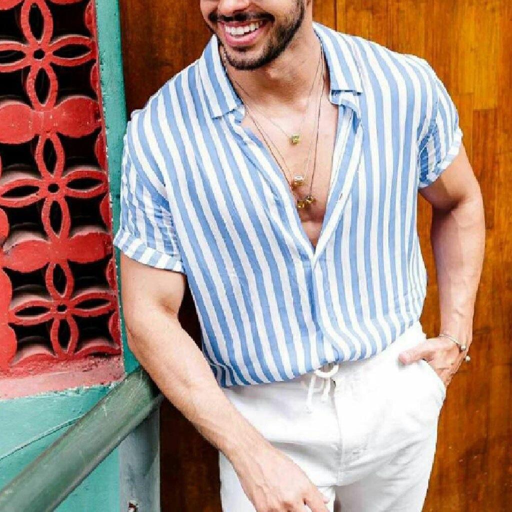 Men/'s Baggy Beach Hawaiian Print Short Sleeve Button Retro T-Shirts Tops Blouse